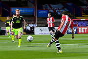 Lloyd James (4) of Exeter City shoots at goal during the EFL Sky Bet League 2 match between Exeter City and Cambridge United at St James' Park, Exeter, England on 5 August 2017. Photo by Graham Hunt.