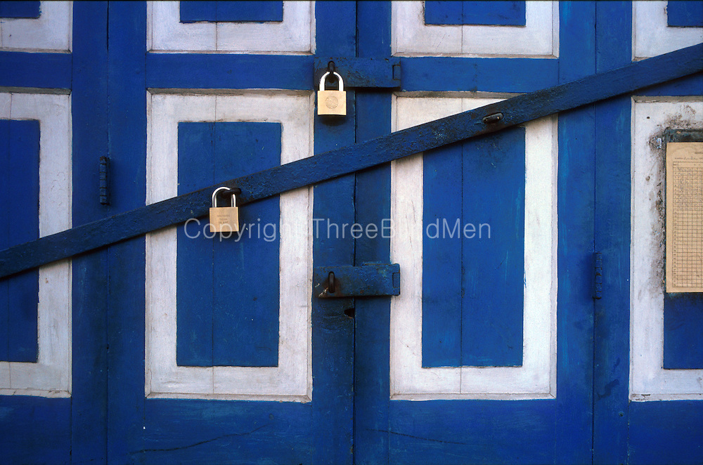 Sri Lanka. Closed panel doors in the Pettah area of Colombo.