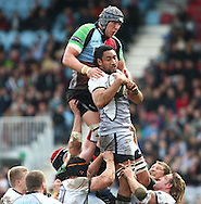 London - Saturday April 3rd, 2010: Josh Afu of Newcastle wins a lineout from James Percival of Harlequins during the Guinness Premiership match between Harlequins and Newcastle at the Twickenham Stoop, London. (Pic by Andrew Tobin/Focus Images)