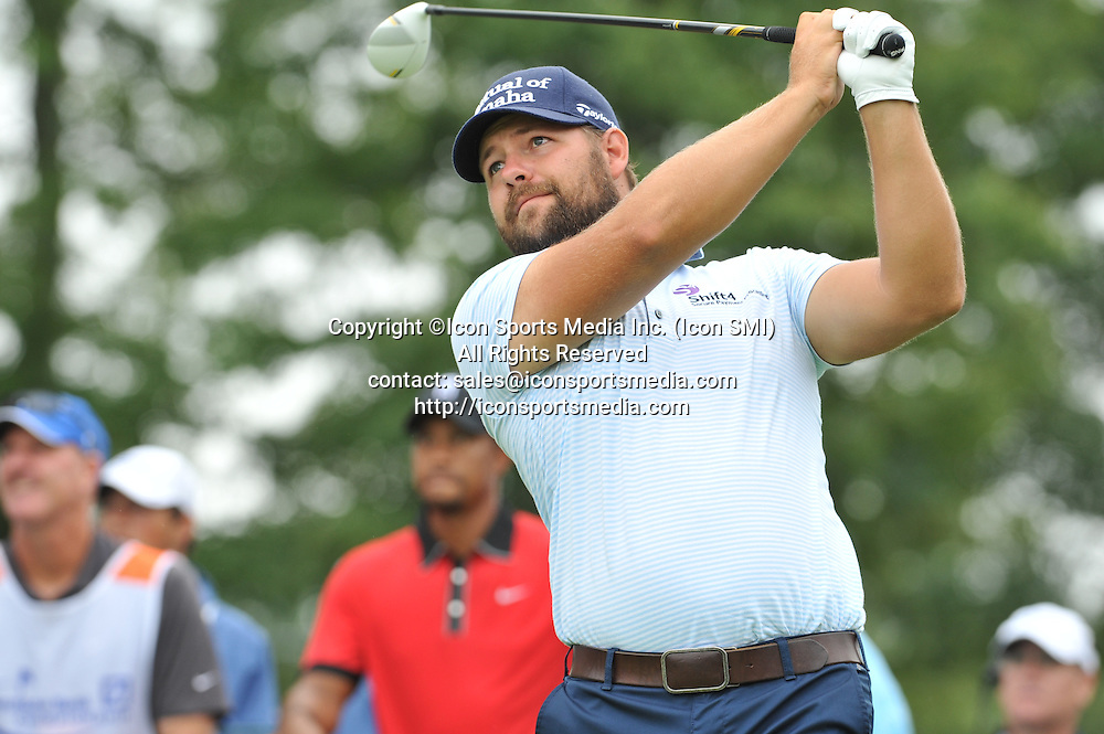 02 September 2013:Ryan Moore hits a nice tee shot off the 10th hole during the Final Round of the Deutsche Bank Championship at TPC Boston in Norton, MA***Editorial Use Only*****