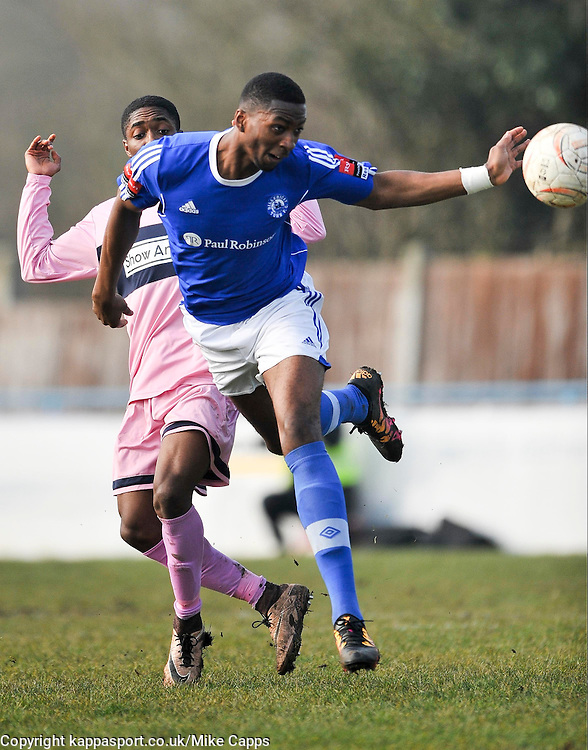 BILLERICAYS JORDAN COX CELEBRATES HIS SECOND GOAL, Billericay Town v Dulwich Hamlet  Ryman League Saturday 12th March 2016, Score 4-1