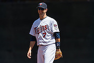 Joe Mauer #7 of the Minnesota Twins smiles during a game against the Seattle Mariners on June 2, 2013 at Target Field in Minneapolis, Minnesota.  The Twins defeated the Mariners 10 to 0.  Photo: Ben Krause