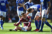 Aston Villa midfielder Jack Grealish (10) smiles after being assaulted by a pitch invader during the EFL Sky Bet Championship match between Birmingham City and Aston Villa at St Andrews, Birmingham, England on 10 March 2019.