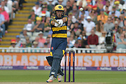 Andrew Salter pulls during the NatWest T20 Finals Day 2017 semi final match between Birmingham Bears and Glamorgan County Cricket Club at Edgbaston, Birmingham, United Kingdom on 2 September 2017. Photo by Simon Trafford.