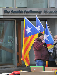Supporters of Catalonian independence held a rally outside the Scottish Parliament on the day of the controversial elections in the parliament in the Spanish region.<br /> <br /> © Dave Johnston/ EEm
