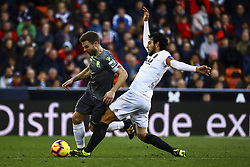 February 10, 2019 - Valencia, Spain - Asier Illarramendi  of Real Sociedad (L) and Dani Parejo of Valencia CF (R) during  spanish La Liga match between Valencia CF v Real Sociedad at Mestalla Stadium on February 10, 2019. (Photo by Jose Miguel Fernandez/NurPhoto) (Credit Image: © Jose Miguel Fernandez/NurPhoto via ZUMA Press)
