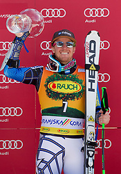 Winner LIGETY Ted of USA celebrates with a Trophy during flower ceremony after the 2nd Run of 8th Men's Giant Slalom - Pokal Vitranc 2012 of FIS Alpine Ski World Cup 2011/2012, on March 10, 2012 in Vitranc, Kranjska Gora, Slovenia.  (Photo By Vid Ponikvar / Sportida.com)