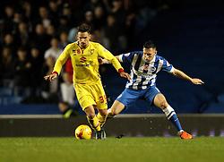 Diego Poyet of Milton Keynes Dons holds off Andrew Crofts of Brighton & Hove Albion - Mandatory byline: Robbie Stephenson/JMP - 07966 386802 - 07/11/2015 - FOOTBALL - Falmer Stadium - Brighton, England - Brighton v MK Dons - Sky Bet Championship