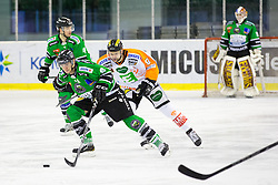 12.02.2015, Hala Tivoli, Ljubljana, SLO, EBEL, HDD Telemach Olimpija Ljubljana vs Moser Medical Graz, 2. Qualification Round, in picture Marvin Degon (HDD Telemach Olimpija, #8) and Marek Zagrapan (Moser Medical Graz 99ers, #8) during the Erste Bank Icehockey League 2. Qualification Round between HDD Telemach Olimpija Ljubljana and Moser Medical Graz 99ers at the Hala Tivoli, Ljubljana, Slovenia on 2015/02/12. Photo by Morgan Kristan / Sportida