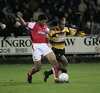 Photo: Barry Bland.<br />Boston United v Swindon Town. The FA Cup. 16/11/2005.<br />Julian Joachim and Jerel Ifil.