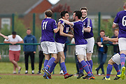 City of Liverpool's (purple) celebrate the opening goal by Jamie McDonald (2nd left) during the North West Counties League Play Off Final match between Litherland REMYCA and City of Liverpool FC at Litherland Sports Park, Litherland, United Kingdom on 13 May 2017. Photo by Craig Galloway.
