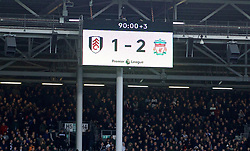 LONDON, ENGLAND - Sunday, March 17, 2019: Fulham's scoreboard records Liverpool's 2-1 victory during the FA Premier League match between Fulham FC and Liverpool FC at Craven Cottage. (Pic by David Rawcliffe/Propaganda)