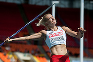Karolina Tyminska from Poland competes in women's javelin while heptathlon during the 14th IAAF World Athletics Championships at the Luzhniki stadium in Moscow on August 13, 2013.<br /> <br /> Russian Federation, Moscow, August 13, 2013<br /> <br /> Picture also available in RAW (NEF) or TIFF format on special request.<br /> <br /> For editorial use only. Any commercial or promotional use requires permission.<br /> <br /> Mandatory credit:<br /> Photo by © Adam Nurkiewicz / Mediasport