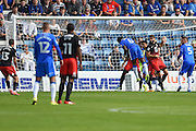 Gillingham defender Adedeji Oshilaja (6) tries a header during the EFL Sky Bet League 1 match between Gillingham and Coventry City at the MEMS Priestfield Stadium, Gillingham, England on 24 September 2016. Photo by Martin Cole.