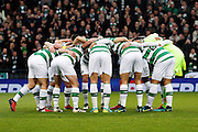 The Celtic huddle during the Betfred Scottish Cup  Final match between Aberdeen and Celtic at Hampden Park, Glasgow, United Kingdom on 27 November 2016. Photo by Craig Galloway.