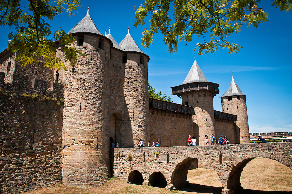 A view of the moat of the interior castle in Carcassonne, France.