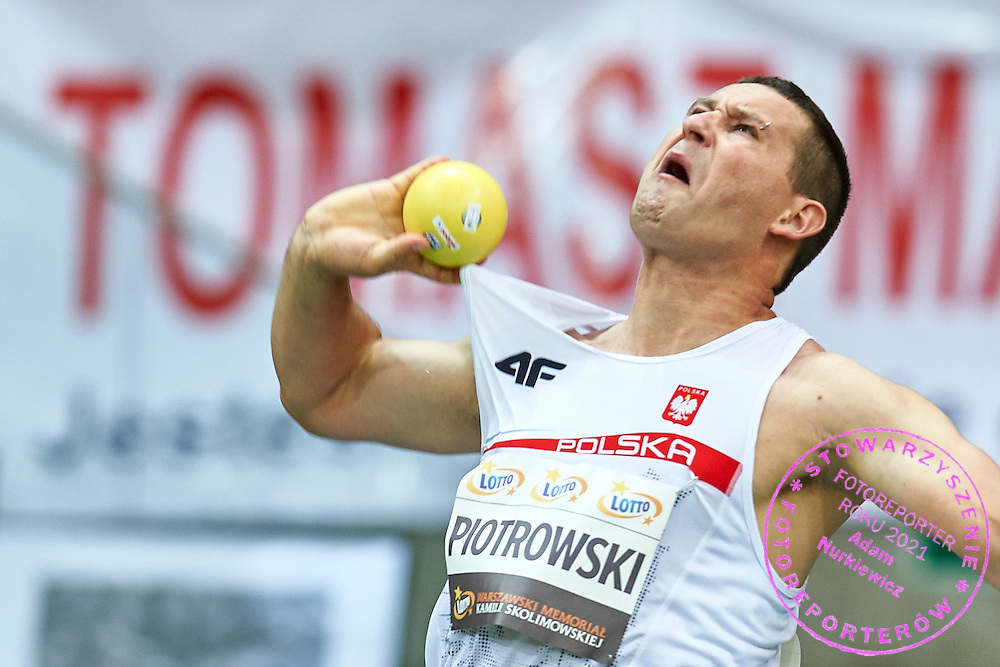 Warsaw, Poland - 2016 August 28: Pawel Piotrowski (Slask Wroclaw) Polish Paralympic athlete competes in men's shot put competition during athletics meeting Kamila Skolimowska Memorial 2016 at PGE National Stadium  August 28, 2016 w Warsaw, Poland.<br /> <br /> Adam Nurkiewicz declares that he has no rights to the image of people at the photographs of his authorship.<br /> <br /> Picture also available in RAW (NEF) or TIFF format on special request.<br /> <br /> Any editorial, commercial or promotional use requires written permission from the author of image.<br /> <br /> Mandatory credit:<br /> Photo by &copy; Adam Nurkiewicz