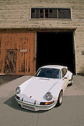 Image of a white sports car coupe in California, 1972 Porsche 911 Carrera RSR Hot Rod, property released.
