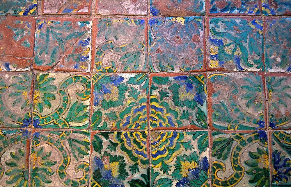 The Oratorio del Rosario di Santa Zita, Palermo, Sicily, Italy. Late medieval painted terracotta floor tiles