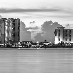 Pensacola Beach Florida skyline black and white panorama photo. Pensacola Beach is on Santa Rosa Island along the Emerald Coast in the Southeastern United States. Panoramic photo ratio is 1:3. Copyright ⓒ 2018 Paul Velgos with All Rights Reserved.