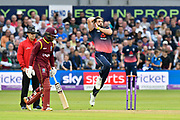 Liam Plunkett of England bowling during the One Day International match between England and West Indies at the Brightside County Ground, Bristol, United Kingdom on 24 September 2017. Photo by Graham Hunt.