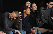Models wait to rehearse before the Altuzarra Fall 2014 collection is presented during Fashion Week in New York, Saturday, Feb. 8, 2014. (AP Photo/Diane Bondareff)