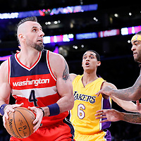27 January 2015: Los Angeles Lakers guard Jordan Clarkson (6) and Los Angeles Lakers center Jordan Hill (27) defend on Washington Wizards center Marcin Gortat (4) during the Washington Wizards 98-92 victory over the Los Angeles Lakers, at the Staples Center, Los Angeles, California, USA.