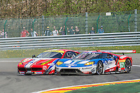 Francois Perrodo (FRA) / Emmanuel Collard (FRA) / Rui Aguas (PRT) #83 AF Corse Ferrari F458 Italia, and Marino Franchitti (GBR) / Andy Priaulx (GBR) / Harry Tincknell (GBR) #67 Ford Chip Ganassi Racing Team UK Ford GT, the Race as part of the WEC 6 Hours of Spa-Francorchamps 2016 at Circuit Spa-Francorchamps, Stavelot, Spa-Francorchamps, Belgium . May 07 2016. World Copyright Peter Taylor/PSP.