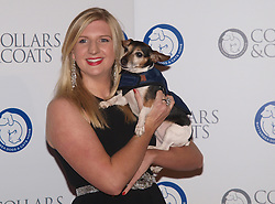 British swimming gold medalist Rebacca Adlington with Lilly Langtry, the 8 year old Jack Russell Terrier at the Collars & Coats Gala ball, the Battersea Dogs Home, November 8, 2012. Photo by i-Images.