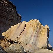 Oman, Ra's al-Jinz. March/14/2008...Rock formations and beach landscape at Ra's al-Jinz.