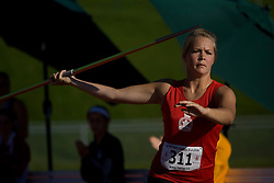 (Sherbrooke, Quebec---10 August 2008) Madison Johnston competing in the javelin at the 2008 Canadian National Youth and Royal Canadian Legion Track and Field Championships in Sherbrooke, Quebec. The photograph is copyright Sean Burges/Mundo Sport Images, 2008. More information can be found at www.msievents.com.