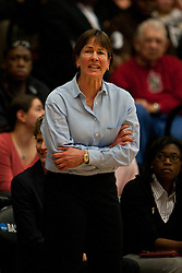 March 21, 2011; Stanford, CA, USA; Stanford Cardinal head coach Tara VanDerveer on the sidelines against the St. John's Red Storm during the first half of the second round of the 2011 NCAA women's basketball tournament at Maples Pavilion.