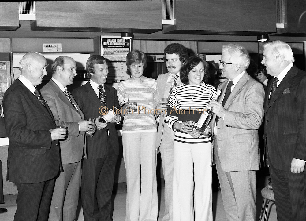 Leopardstown Reception - Whiskey 03/06/1976.Hedges & Butler Ireland Ltd., reception for Bell's Whiskey at Leopardstown.Pictured L-R, Mr. Michael Walsh, (Sandyford House), Vice-President, National Vintners Association, Mr. Larry Ryan, Chairman, Dublin Licensed Vintners Association, Mr. G.R. Newbold, (Bells), Miss Jone Butterly, (Hedges & Butler), Mr. Tom Kennedy, (Hedges & Butler), Miss Elizabeth Murphy, (Hedges & Butler), Mr. E.P. McDonald, (Hedges & Butler), Mr. D. Dean, (Bells).