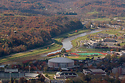 Aerial view Ohio University, and the Hocking River. © Ohio University