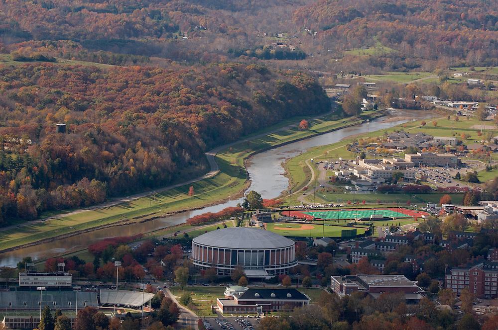 Aerial view Ohio University, and the Hocking River. © Ohio University