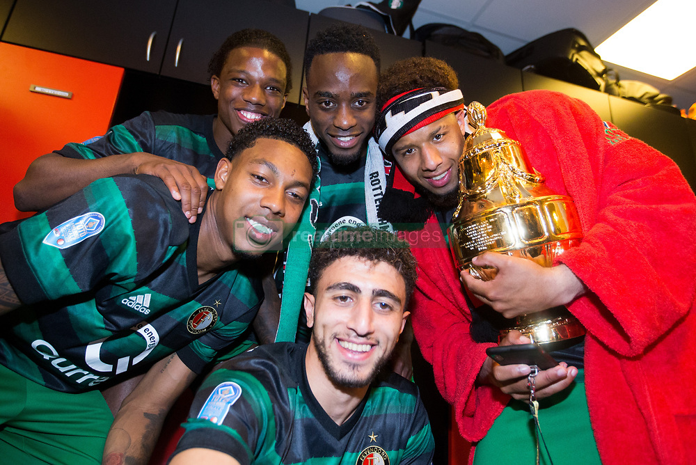 Tyrell Malacia of Feyenoord, Jeremiah St. Juste of Feyenoord, Jean-Paul Boetius of Feyenoord, Bilal Basacikoglu of Feyenoord, Tonny Vilhena of Feyenoord, cup, trophy, dressing room during the Dutch Toto KNVB Cup Final match between AZ Alkmaar and Feyenoord on April 22, 2018 at the Kuip stadium in Rotterdam, The Netherlands.
