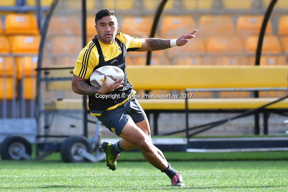 Hurricanes Vince Aso runs with the ball during the Hurricanes captains run at Westpac Stadium in Wellington on Friday the 26th of June 2017. Copyright Photo by Marty Melville / www.Photosport.nz