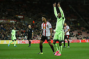 Manchester City midfielder Raheem Sterling scores his first and Man Citys third goal during the Capital One Cup match between Sunderland and Manchester City at the Stadium Of Light, Sunderland, England on 22 September 2015. Photo by Simon Davies.