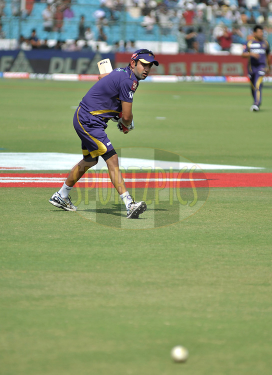 Gautam Gambhir of  KKR during practise match 7 of the the Indian Premier League ( IPL) 2012  between The Rajasthan Royals and the Kolkata Knight Riders held at the Sawai Mansingh Stadium in Jaipur on the 8th April 2012Photo by Arjun Panwar/IPL/SPORTZPICS