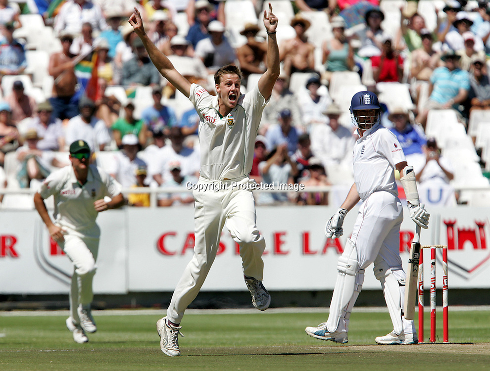 Morne Morkel celebrates the wicket of Graeme Swann in the first over during the 3rd day of the third test match between South Africa and England held at Newlands Cricket Ground in Cape Town on the 5th January 2010.Photo by: Ron Gaunt/ SPORTZPICS
