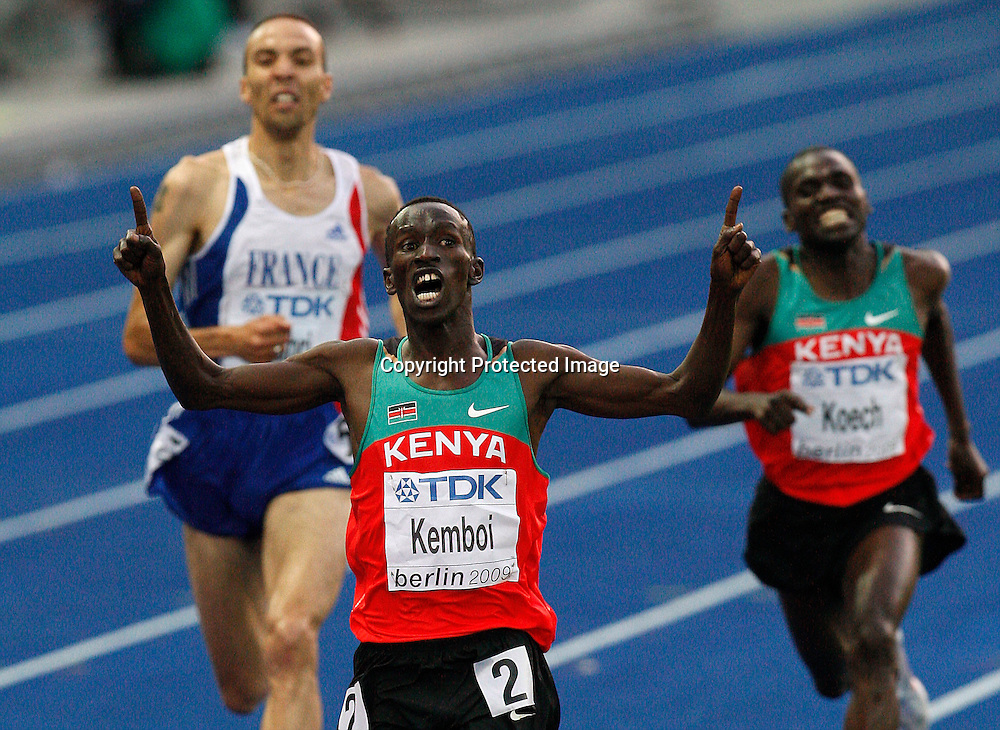 Kenya's Ezekiel Kemboi reacts to his victory in the men's 3000m steeplechase final during the 12th IAAF World Athletics Championships at the Olympic stadium in Berlin, Germany, 18 August 2009. Photo: Piotr Hawalej / WROFOTO / PHOTOSPORT