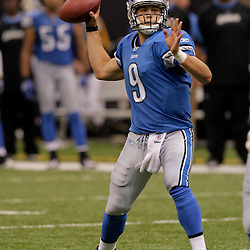 2009 September 13: Detroit Lions rookie quarterback Matthew Stafford (9)throws a pass during a 45-27 win by the New Orleans Saints over the Detroit Lions at the Louisiana Superdome in New Orleans, Louisiana.