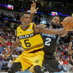 Aug 25, 2019; New Orleans, LA, USA; Killer 3's Frank Session and Power Jeremy Pargo (2) battle for the ball during the Big Three Playoffs at the Smoothie King Center. Mandatory Credit: Derick E. Hingle-USA TODAY Sports