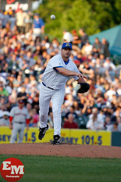 May 24, 2007; Trenton, NJ, USA;  Roger Clemens (22) throws to first during his start for the Trenton Thunder (New York Yankees Double-A affiliate) during their Eastern League game against the Portland Sea Dogs at Waterfront Park in Trenton, NJ.