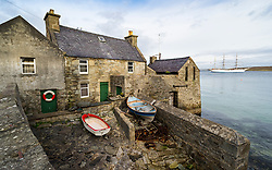 Exterior view of old Lodberrie ( Lodberry) former dock and warehouse in Lerwick, Shetland , Scotland, UK
