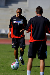 Nicosia, Cyprus - Monday, October 15, 2007: Wales' Daniel Gabbidon training at the New GSP Stadium in Nicosia following their 3-1 defeat by Cyprus during the Group D UEFA Euro 2008 Qualifying match. (Photo by David Rawcliffe/Propaganda)