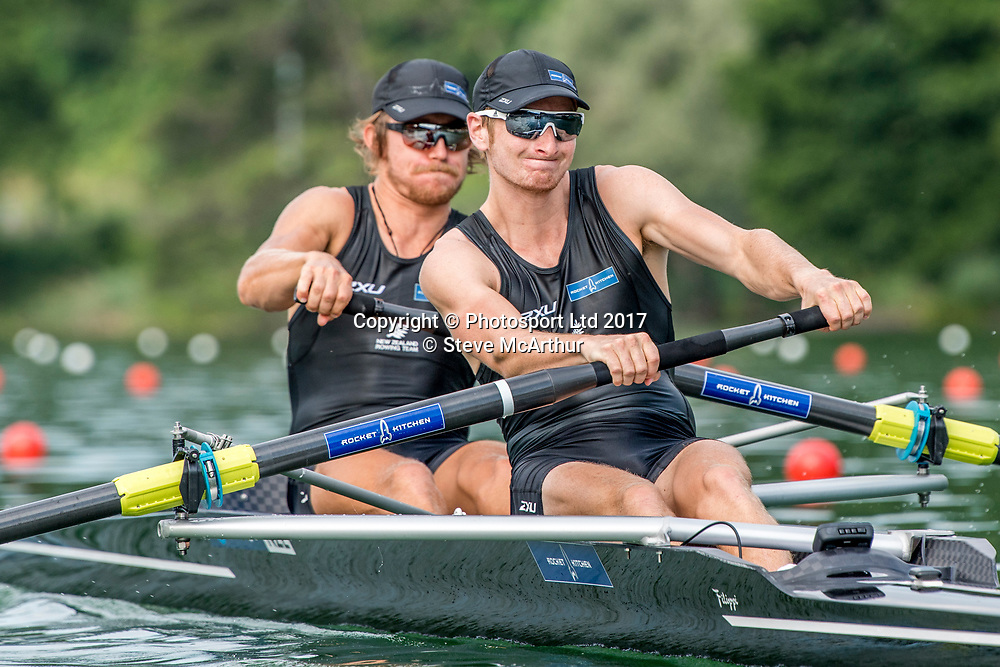 Tom Murray (Blenheim RC) and James Hunter (Wellington RC) NZ Mens Coxless Pair racing the qualification heat at WCIII on the Rotsee, Lucerne, Switzerland, Friday 7th July 2017 © Copyright Steve McArthur / www.photosport.nz