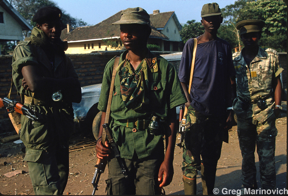 Goma, Zaire, Rwandan army and militia who escaped RPF takeover that followed and stopped the genocide of Rwandan Tutsis and Hutu moderates by extremist Hutus. 1994. Greg Marinovich