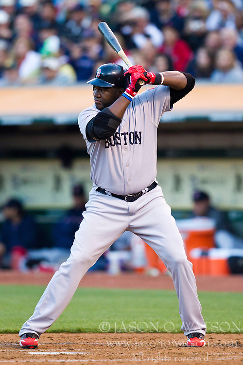July 19, 2010; Oakland, CA, USA;  Boston Red Sox designated hitter David Ortiz (34) at bat against the Oakland Athletics during the fourth inning at Oakland-Alameda County Coliseum. Boston defeated Oakland 2-1.