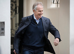 © Licensed to London News Pictures. 26/04/2017. London, UK. Former Prime Minister Tony Blair leaves his office in the West End. Earlier, Mr Blair met with his former colleagues Alastair Campbell and Jim Murphy. Mr Blair recently called for voters to think about backing Lib Dem or Conservative candidates in the general election on June 8th if they promise to have an open mind about the terms of the final Brexit deal. Photo credit: Peter Macdiarmid/LNP